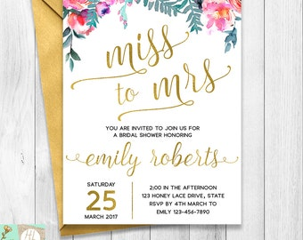 Floral Miss to Mrs Bridal Shower Invitation, Floral Hens Party Invite, Gold Foil Letter, Gold Miss to Mrs, Bachelorette Party, Bridal Shower