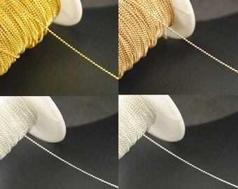 16ft ball Chains, 1mm / 2mm Brass ball Chains, DIY Chains Supplies, Wholesale Chains. silver. gold. rose gold