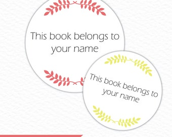 """Personalized printable and editable """"This book belongs to..."""" round labels. Instant download PDF."""