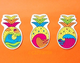 Pineapple Wave Sticker Pack | Cute set of three pineapple stickers with waves inside