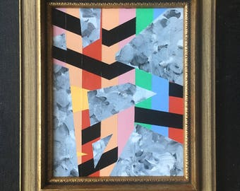 """Small Original Abstract Acrylic Painting on board in Vintage wood frame - 13 1/4"""" x 11 1/4"""""""