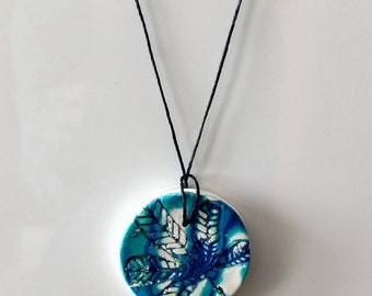 00AK Dat Leaf Tho Handmade Polymer Clay Necklace