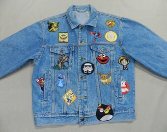 Custom Vintage Denim Jean Jacket With Patches Size M
