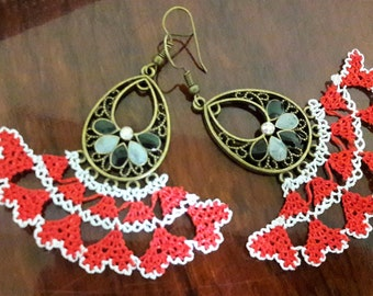 Valentines day gift, Needle lace hand made earrings, summer fashion