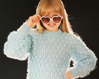 Childrens Sweater Knitting Pattern, Copley Knitting Pattern, Childrens Pineapple Stitch Sweater, Girls Jumper, Childrens Jumper, No. 458