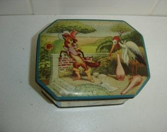 Belle boite tole sirop Pomona. Fables de la Fontaine. Le renard et la cigogne. Old tin box. Vintage