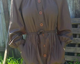Brown button up Hippy Style Top With Pockets From The 70's/LauraMae LifePress/70s top/hippy top/button up top