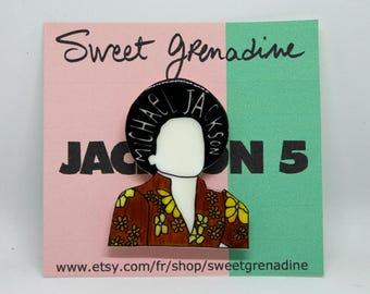 """Michael Jackson """"JACKSON 5"""" Shrink Plastic Brooch"""