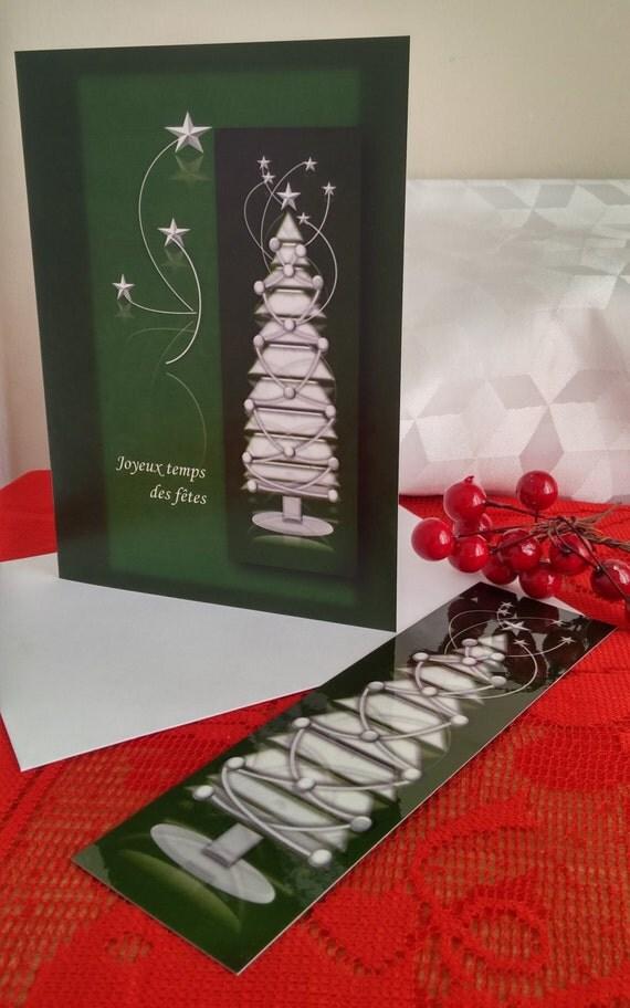 Carte de Noël/Carte de voeux/Sapin blanc/Voeux des Fêtes/Triangles géométriques/Étoiles/Cadeau de Noël/Signet de Noël/Noël - CNO-GMTX-0002