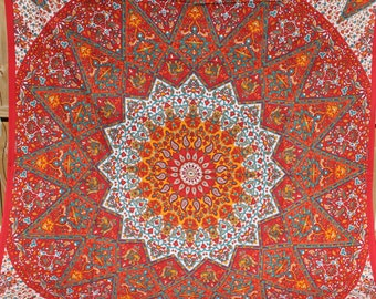 Star Mandala with Elephants fabric - Colors include orange and yellow - Elephant Tapestry Boho fabric