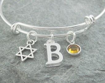 Star of david bracelet, silver magen david, initial bracelet, swarovski birthstone, personalized jewelry, jewish jewelry, hebrew jewelry