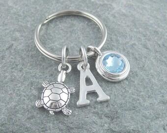 Turtle keychain, turtle keyring, personalized keyring, initial keychain, birthstone keychain, monogram keychain, tortoise keyring, custom
