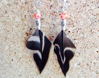Duck feather earrings