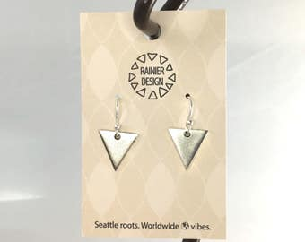 Silver Geometric Triangle Drop Hook Earrings, Mixed Metal Dangles - Edgy Chic, Simple and Unique Handmade Jewelry From the Pacific Northwest