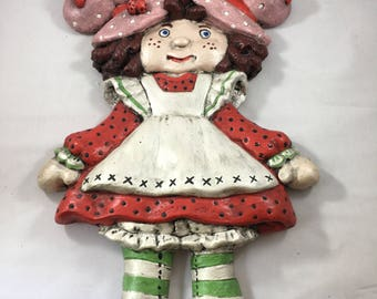 Vintage 1980s Chalk Ware Strawberry Shortcake Wall Hanging Hand Painted by Grandma Thorpe