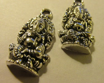 Ganesh Charms with Antique Silver Finish, 25mm, Set of 2