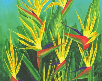 If You Like Pina Coladas BIRDS OF PARADISE Fabric Panel