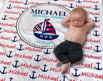 Nautical Baby Blanket - Nautical Baby Bedding - Personalized Baby Blanket - Newborn Boy Gift - Receiving Blanket - Baby Name Wrap Blanket