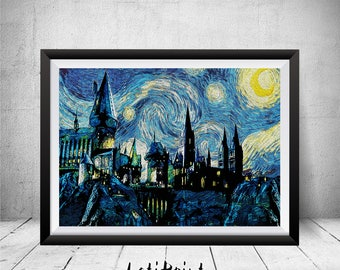 Hogwarts Print, Starry Night Print, Harry Potter Print, Harry Potter Wall Art Decor, Printable Art, Nursery Decor, Harry Potter Art, Prints