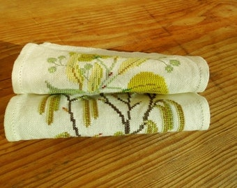 Rustic Linen napkins small Set of 2 vintage linen placemats spring linen embroidery for framing linen coasters cottage chic country chic