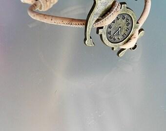 Compass bracelet vegan men bracelet anchor man gift  clock cork bracelet anchor wrap bracelet everyday bracelet simple size S M L XL