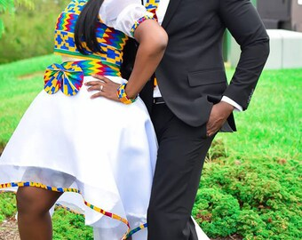 HOTTEST Ankara Couple Matching Skirt And African Tie African High Low Skirt Kente African Gift for Couple Priceless Sexy African Prom Dress