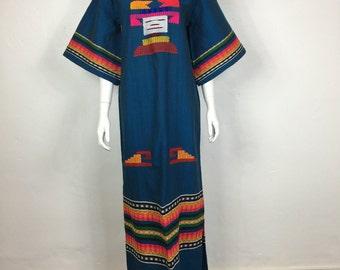 Vtg 70s ethnic woven mexican guatemalan huipil caftan maxi dress boho hippie