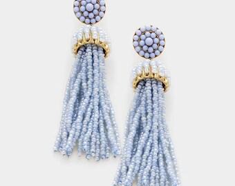 Periwinkle and  Blue Beaded Tassel Earrings