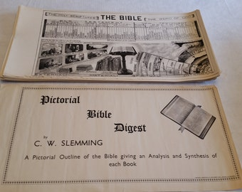 "RARE - 63 pictorial bible digest charts by c w slemming & d m reeves - 10"" x 20"" printed in england 1940's - complete illustrated art prints"