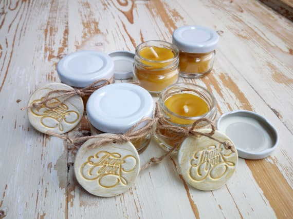 Beeswax candle, Jar candle, Aromatherapy candle, Pure beeswax candle, Wedding guest gift favor, Bride shower, Thank you tag, Custom gift