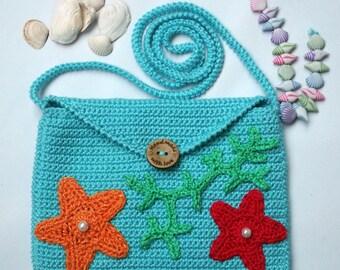 Little girls bag - blue girls purse - crochet crossbody bag - crochet ocean bag - colorful summer handbag - girls accessory - birthday gift