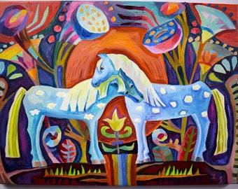 Original oil painting horses and flowers Original oil art Original oil painting abstract Original abstract oil painting Decorative painting