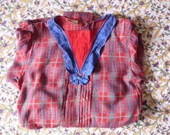 Rare 1970s dress 70s Phool dress 40s style Red tartan plaid Beaded collar Long sleeve Drop waist Pleated skirt Retro Fashion medium size