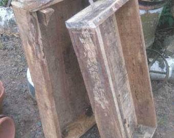 Handmade Wooden rustic boxes - 2 tier - garden / pots / vegetable - fruit / displays / decor