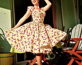 Pinup dress 'Lily dress in Vintage Cherries' rockabilly sress with cap sleeve