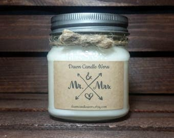 8oz Mr & Mrs Candles - Wedding Candles - Soy Candles - Bridal Shower Favors - Bride Gifts - Wedding Favors - Engagement Gift - Mason Jar