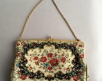 1950s Tapestry purse / clutch bag / evening bag