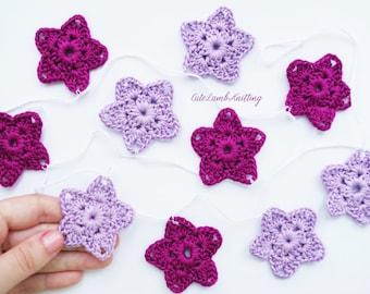 Crochet bunting, crochet garland, crochet wall decor, crochet home decor crochet decoration, crochet wall hanging, crochet star garland