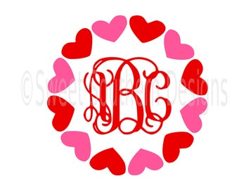 Heart monogram circle Valentines Day SVG instant download design for cricut or silhouette