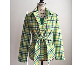 Vintage Plaid Jacket, 70s Plaid Jacket, Vintage Sears Jacket, Bright Plaid Jacket, Spring Jacket