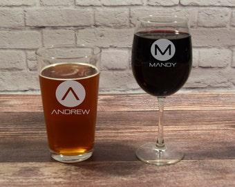 Custom Glass Set, His and Hers Glasses, Custom Drink Gift Set, Beer Wine Glass Set, Beer and Wine Gift, Wedding Glasses, Wedding Gift,  Etch