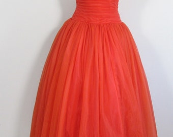 50s CALIFORNIA Pleated Boned Red Dress Prom Wedding Party Special Occasion- Uk 6-8