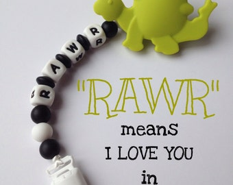 "Silicone Pacifier Clip ""RAWR"" & Dinosaur Teether - Soother Clip - Baby Girl or Boy - Binky Clip - Paci Clip - Chew Beads"