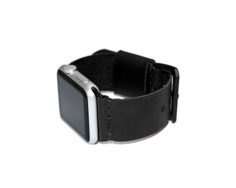 Black Genuine Leather Apple Watch Band 42mm - 38mm / Apple Watch Strap Leather, iWatch Band Leather Accessories, iWatch Strap Adapter