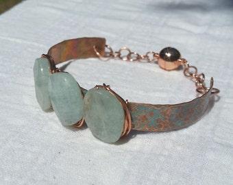 Aquamarine and Copper bracelet