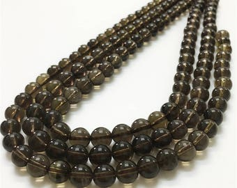 8mm Smoky Quartz Beads, Round Gemstone Beads, Wholesale Beads