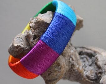 Bracelet Bangle with Fine Silk yarn