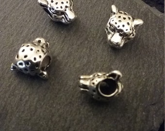 Leopard or Jaguar Head Beads Antique Silver Tone 3D Detailed Large Hole