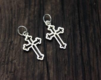 2 Sterling Silver Cross Charm Pendant,Cross necklace pendant,Cross Jewelry
