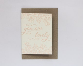 SALE to make way for new stock: Letterpress You Are Really Really Really Lovely Greeting Card | Thank You |  in Light Pink